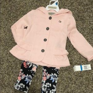 2-pc floral leggings button down, hooded sweater